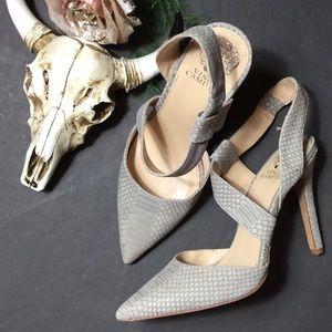 Vince Camuto gray snake print heels 8.5